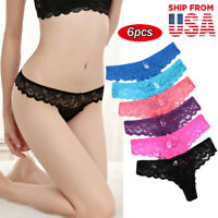 6Pcs/Set Women's Lace Panties Briefs Underwear Thongs Lingerie Knickers G-String