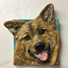 New ListingFinnish Spitz Dog Ceramic 3d Tile Handmade Pet Portrait Sondra Alexander Art