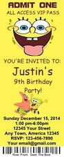 12 Personalized Sponge Bob Birthday Ticket Invitations & Envelops