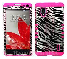 KoolKase Hybrid Silicone Cover Case for AT&T LG Optimus G E970 - Zebra Silver
