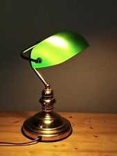 TRADITIONAL BANKERS DESK LAMP BRASS GREEN GLASS SHADE