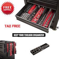 19 Pcs Metric Magnetic Socket Holder Tool Box Organizer Tray Rack 1/2 Inch Saver