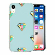 For Apple iPhone XR Silicone Case Bling Blue Multi Colour Diamond - S650