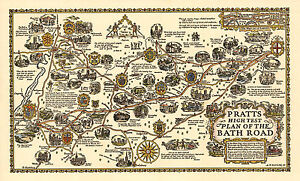 Plan of the Bath road from London -Old, Vintage  Poster - Decorative Map 1930