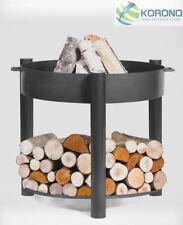 Feuerschale Gartenfeuer Terrassenfeuer Stahl Ø 80 cm Höhe 80 cm mit Holzablage