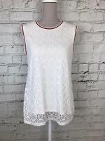 Dorothy Perkins Womens White Lace Style Front Sleeveless Top Size 16
