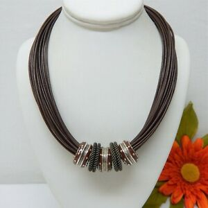"""BROWN LEATHER MULTI STRAND NECKLACE WITH RING CHARMS & SILVER TONE CLASP 20"""""""