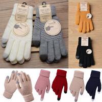 Winter Touch Screen Gloves Unisex Warm Stretch Crochet Knitted Mitten Thicken UK