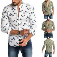 Men Casual Summer Wild Goose Pattern Hawaiian Closure Button Sleeve Long Shirt