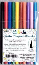 MARVY UCHIDA COLOR IN MARKER Brush Tips 10 set PRIMARIES