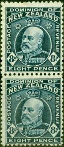 New Zealand 1916 8d Indigo-Blue SG404a Vertical Pair Fine Lightly Mtd Mint