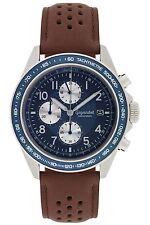Gigandet Racetrack Herrenuhr Chronograph Datum Lederarmband Braun Blau G24-009