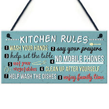 Funny Rustic Kitchen House Rules Home Decorative Hanging Wall Plaque Sign Gift