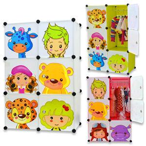 Magic Kids Wardrobe Childrens Cabient Boxes Storage Character Design 6 x Cubes