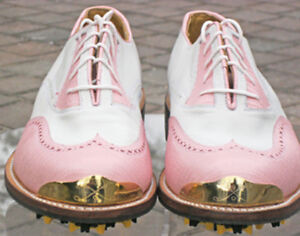 Vecci New Men Pink/white Classic wingtip GolfShoe  SMRP$370