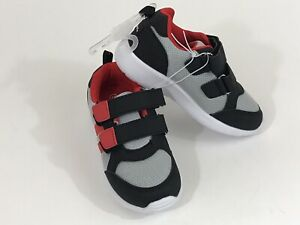GERBER Shoes Toddler Mesh Knit Strap Athletic Sneakers Size 10 Black Gray Red