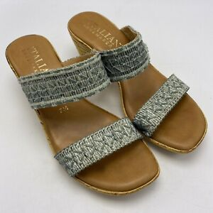 "Italian Shoemakers Sz 7 M Women Wedge Sandals Fashion Green 2.5"" Heel"