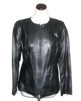 Terry Lewis Womens Small Silver Motorcycle Cropped Moto Full Zip Leather Jacket