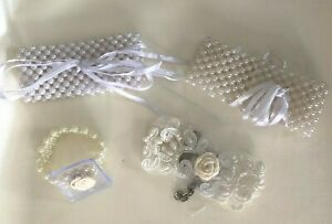 Wrist Bracelets, DIY Wrist Corsage, Pearl or lace, white or ivory