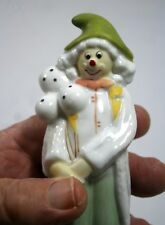 Ceramic Clown of the Circus in White Long Coat, Green Pants & Hat, with Balloons