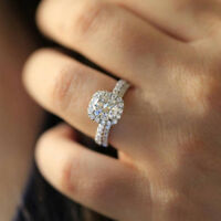 Charming Women Silver Filled Rings Round Cut White Sapphire Jewelry Size 5-12