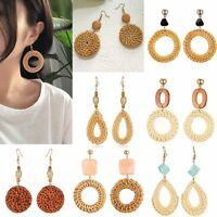 Women Straw Rattan Woven Geometric Earrings Drop Dangle Jewelry Summer Party