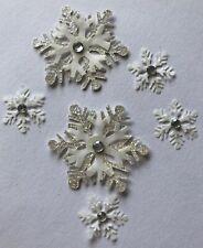 WHITE SNOWFLAKE Dimensional Embellishment (6pc)Jolee's •Christmas•Glitter•Snow•