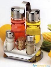 Set menage inox vetro olio,aceto,sale,pepe+stuzzic
