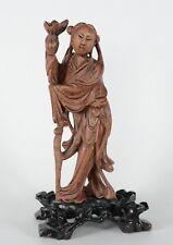 Fine Chinese Carved Boxwood or Rosewood figure of Kwanyin on Dark Wood Base