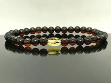 BALTIC AMBER BRACELET Insect Inclusion Barrel Round Beads Insects Gift 3g 13478