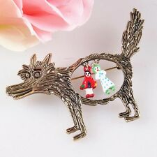 Lovely Bronze Fairy Tales Wolf & Little Red Riding Hood Cartoon Pin Brooch Gifts