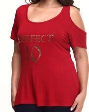 Baby Phat Women's Cold Shoulder Red Top Polyester Casual Short Sleeve Plus 2XL