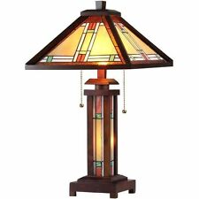 Table Lamp Tiffany Mission Style Beige Amber Green Stained Glass Shade Lit Base