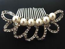 NEW beautiful elegant wedding bridal hair comb pearl and crystal #224