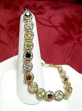 "14K ROSE GOLD ROUND SHAPE MULTI STONE GEM LINK TENNIS BRACELET 8"" LONG"