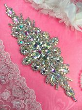 "Bridal Sash Applique Crystal Aurora Borealis AB Rhinestone 9"" (DH10) Patch DIY"