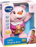 Vtech Singing Alfie teddy Bear Soft Toy Educational Sensory Vtech Blue and pink
