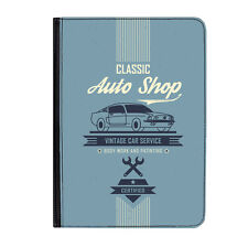 "Vintage Blue Auto Shop Car Universal Tablet 9-10.1"" Leather Flip Case Cover"