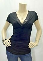 Cache XS Black Lace V Neck Ruched Short Sleeve Knit Top Shirt Stretch