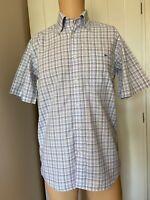 "Lacoste Casual White Blue Check Mens Shirt 38 Short Sleeve 21"" Summer M Medium"