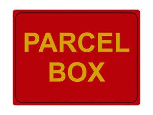 1209 PARCEL BOX Metal Aluminium Plaque Sign House Door Gate Office Post Letters
