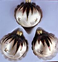 3er Christbaumschmuck Set 8cm Kugeln Eislack Gold Bordeaux Lauscha handbemalt