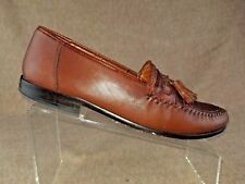 Nordstrom Kappa Men Brown Tassel Loafers Moc Toe Woven Leather Shoes Size 9.5 B