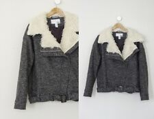 Bar III Oversized Marled Gray Moto Motorcycle Curly Fur Collar Belted Jacket S/M