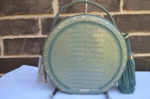 NWT $325 BRAHMIN Lane OCEAN HARRISON Canteen Leather Crossbody green