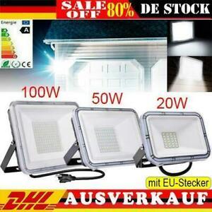 LED Fluter mit Stecker 10-100W Außen Strahler Scheinwerfer Baustrahler IP65 DHL