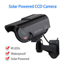Solar Power Dummy Fake Camera CCD Sensor Waterproof LED Flashing Lights Bullet