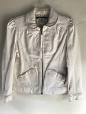 NEW $300 Marc by Marc Jacobs White Cotton Zip Front Jacket Size 10