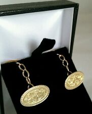 Edwardian 15ct Yellow Gold oval cuff links . Finely engraved.  Birmingham 1901 .