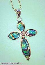 19mm Solid STER Silver Marquise New Zealand Paua Abalone Shell CZ Cross Pendant